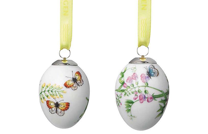 Butterfly Easter Egg Ornaments - White - Royal Copenhagen