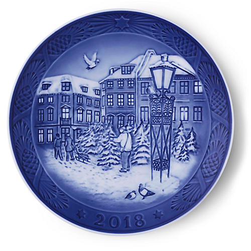"7"" Christmas 2018 Decorative Plate, Blue/White"