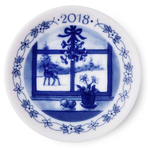 "3"" Fawn 2018 Decorative Plate, Blue/White"