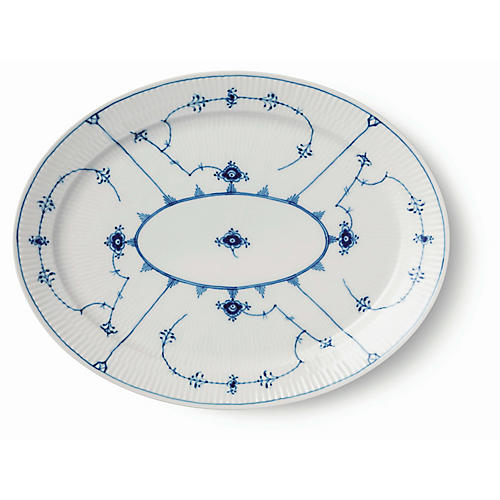 Fluted Oval Accent Plate, White/Blue