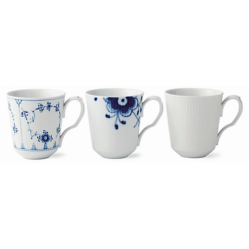 S/3 Gifts with History Mugs, White/Blue