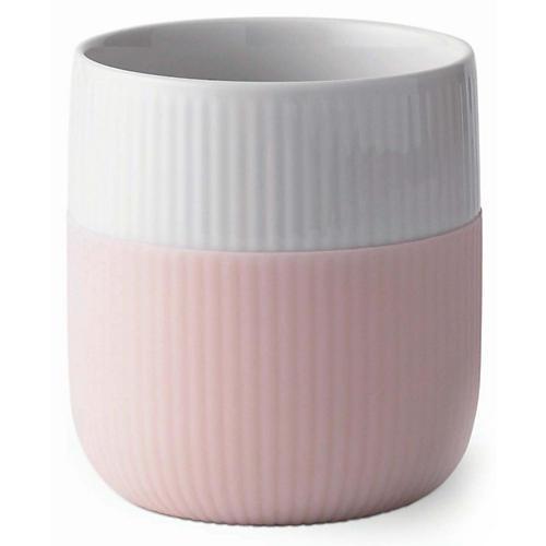 Contrast Fluted Mug, White/Pink