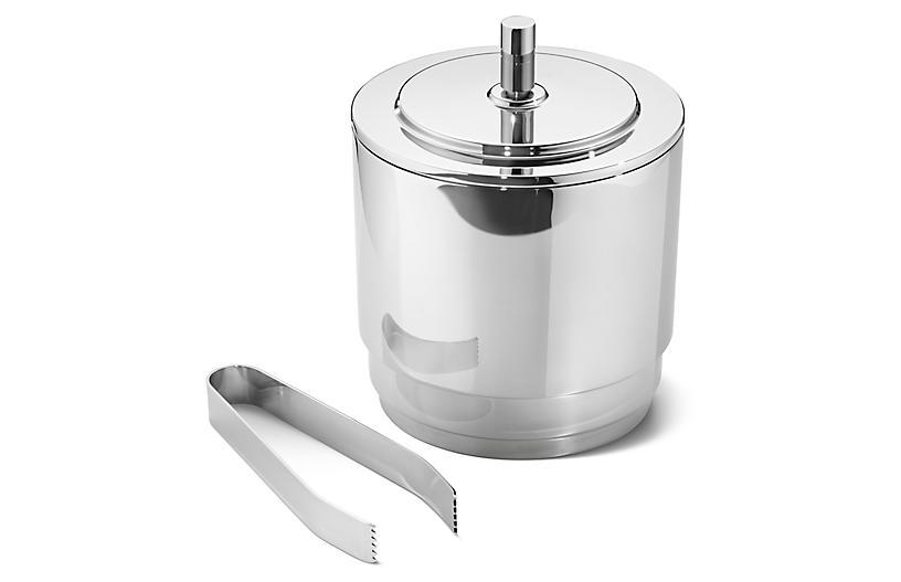 Manhattan Ice Bucket w/Tongs, Silver
