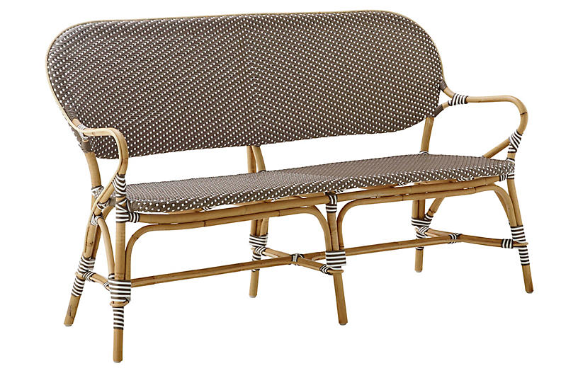 Isabell Rattan Bench, Cappuccino/White Dots