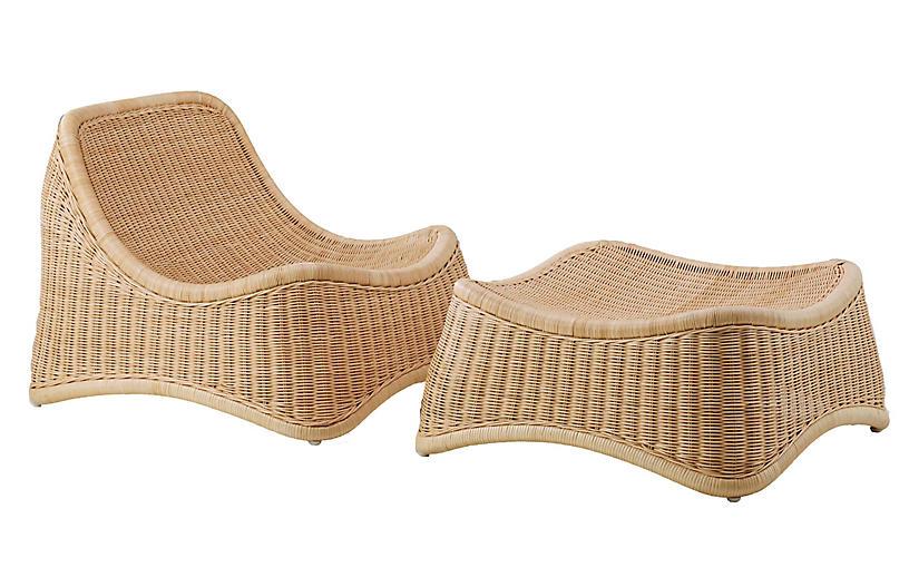 Nanna Ditzel Chill Chair & Stool, Natural