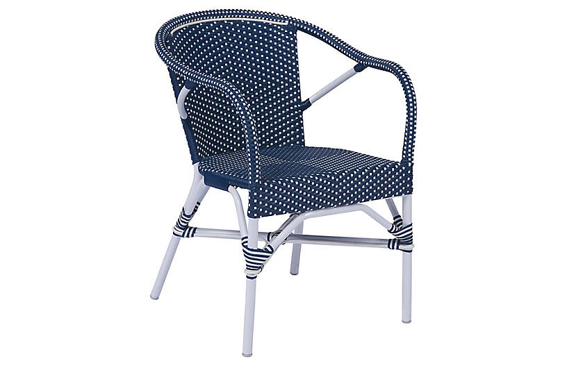 Madeleine Outdoor Dining Chair, Navy/White