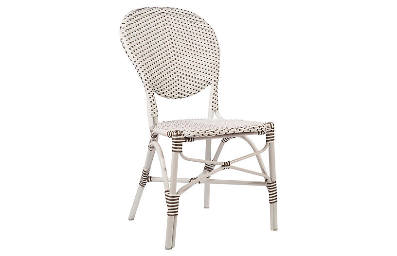 Isabell Outdoor Side Chair, White/Cappuccino