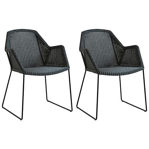 S/2 Breeze Stackable Armchairs, Black