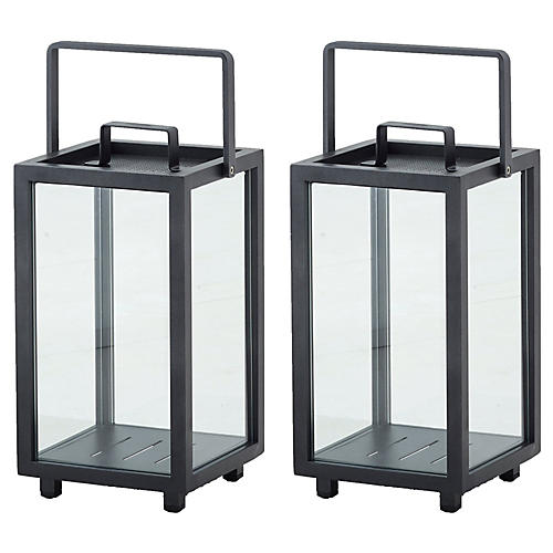 S/2 Lighthouse Lanterns, Lava Gray