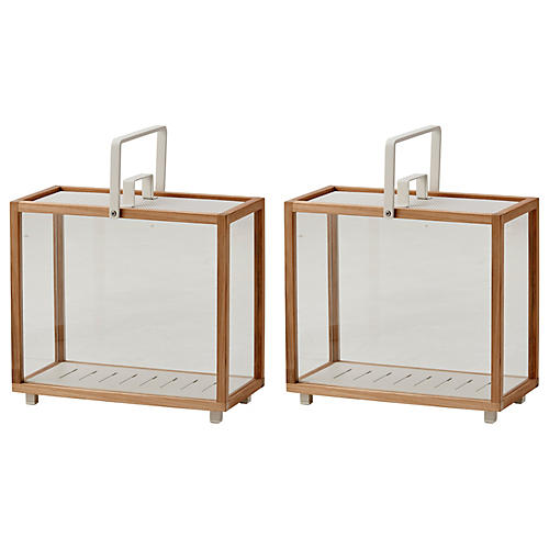 S/2 Lighthouse Rectangular Lanterns, Teak/White