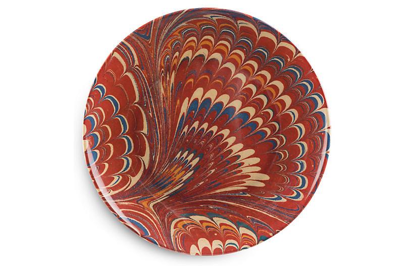 S/4 Forster Dinner Plates, Red/Multi