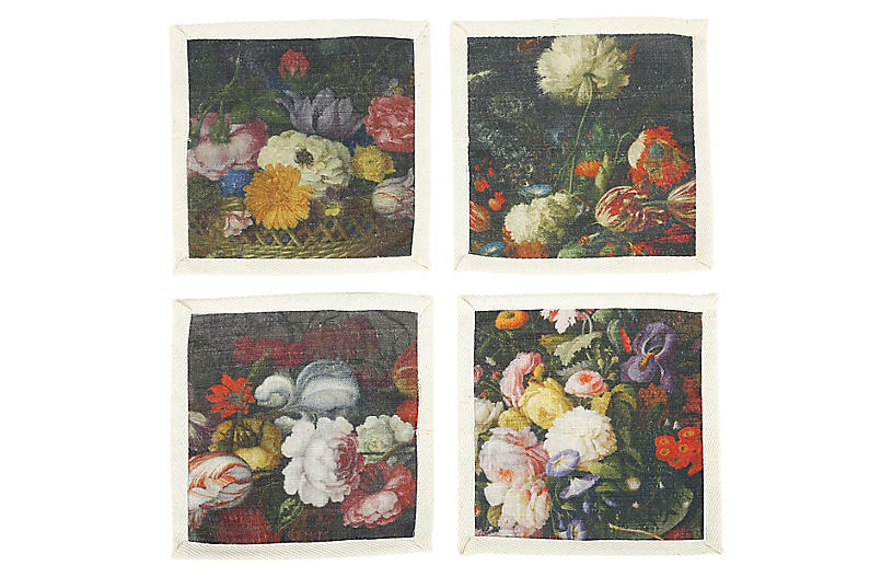 S/4 Bouquet Cocktail Napkins, Black/Multi