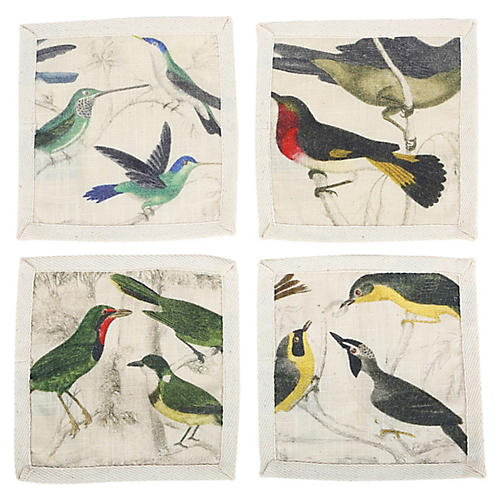 S/4 Ornithology Cocktail Napkins, Ivory/Multi