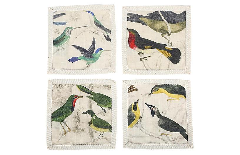 S/4 Ornithology Cocktail Napkins, Ivory/Multi