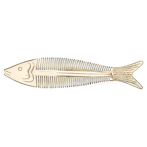 Solid Brass Fish Comb, Brass