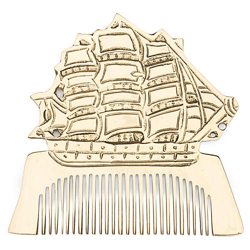 Solid Brass Ship Comb, Brass