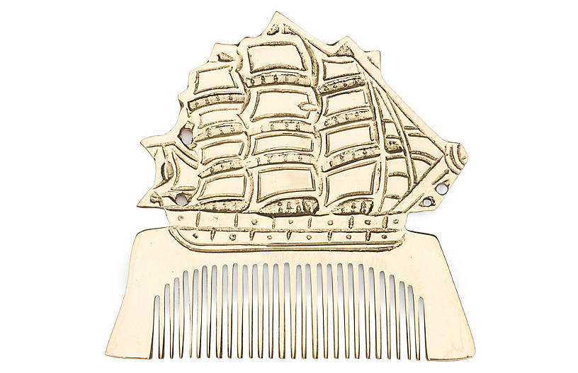 Solid Brass Ship Comb, Brass