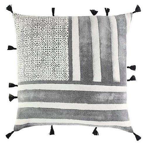 Rani 18x18 Cotton Pillow, Black