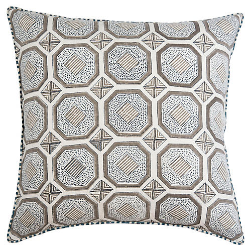 Evara 22x22 Pillow, Ash/Multi Linen