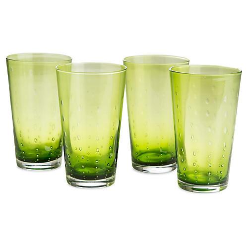 S/4 Droplet Highball Glasses, Green