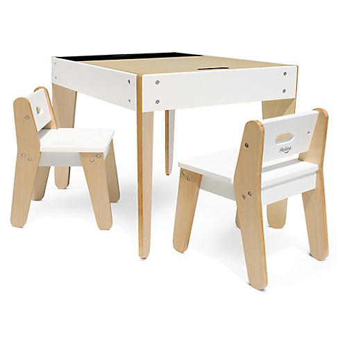 Asst. of 3 Little Modern Play Table, White/Natural