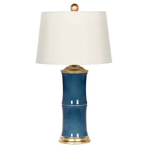 Bamboo-Style Table Lamp, Blue/White