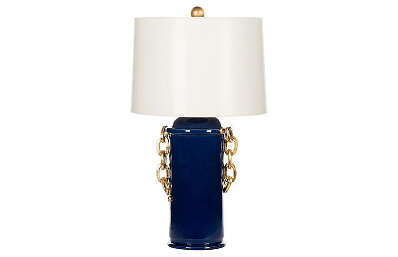 Chain Table Lamp, Blue/Gold