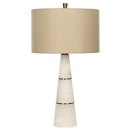 Volterra Table Lamp, White Alabaster