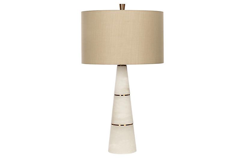 Volterra Table Lamp, White Alabaster