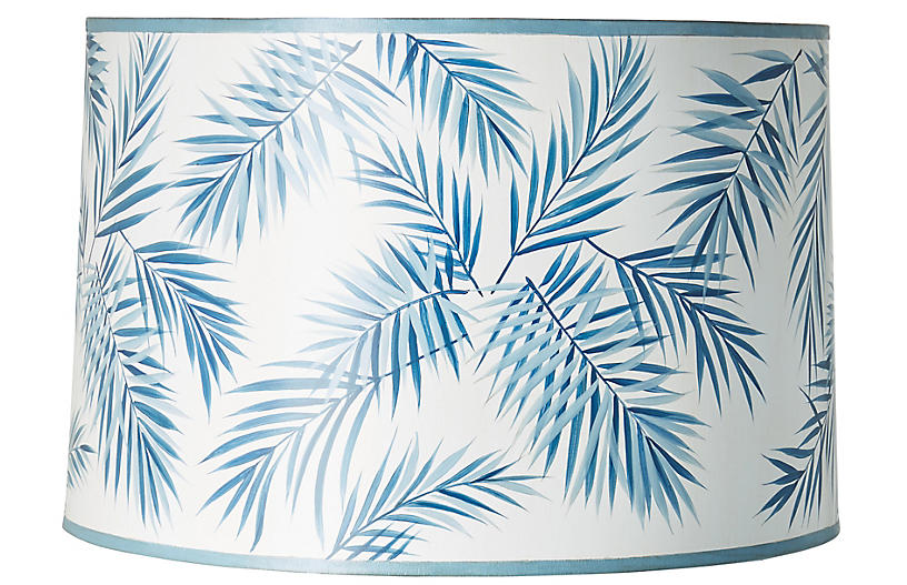 Palm Hand-Painted Lampshade, Blue/White