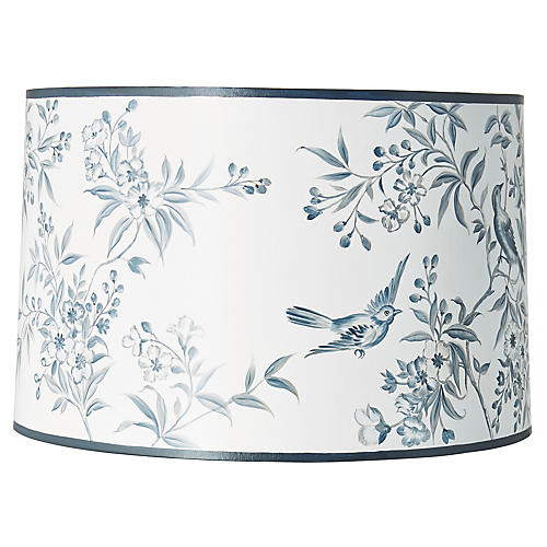 Garden Hand-Painted Lampshade, Blue/White