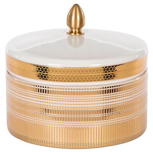 Round Box, Gold/White