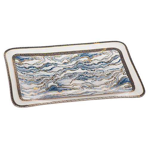 Marble Glass Plate, Blue