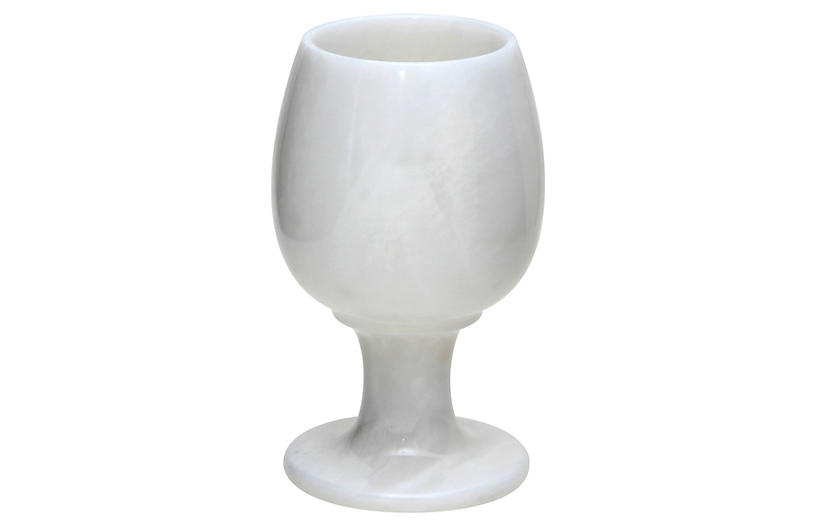S/6 Marble Goblets, Pearl White