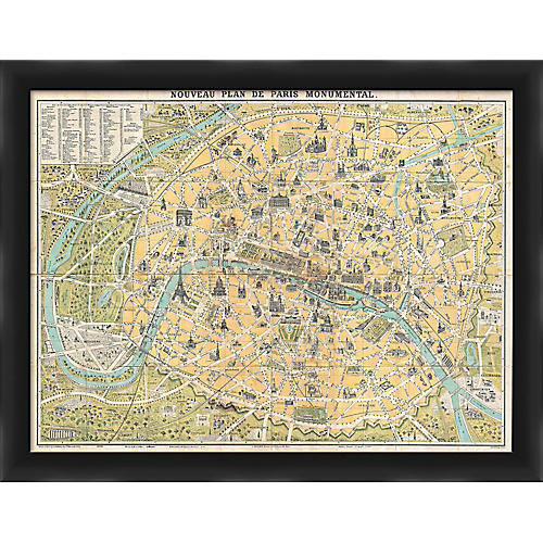 Paris Map, Black