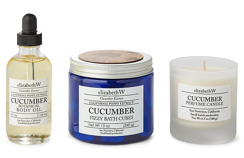 Cucumber Bath Set, Natural/Blue