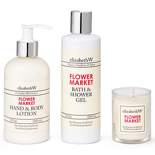 Flower Market Bath Set, Pink