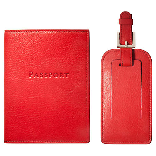 Jet Set Slim Passport Case & Luggage Tag, Red