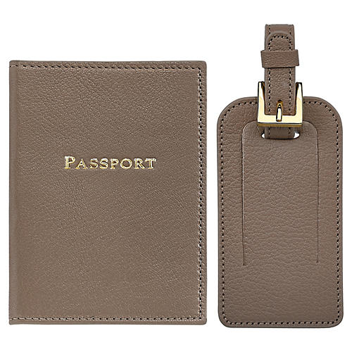 Jet Set Slim Passport Case & Luggage Tag, Taupe