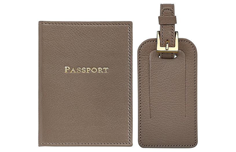 Jet Set Slim Passport Case & Luggage Tag, Taupe