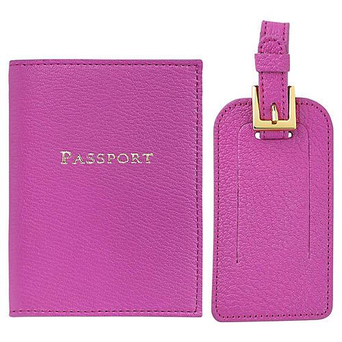 Jet Set Slim Passport Case & Luggage Tag, Orchid