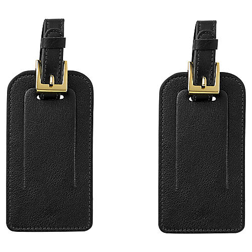 S/2 Jet Set Luggage Tags, Black