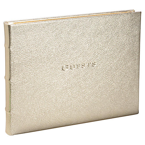 Classic Guest Book, White Gold