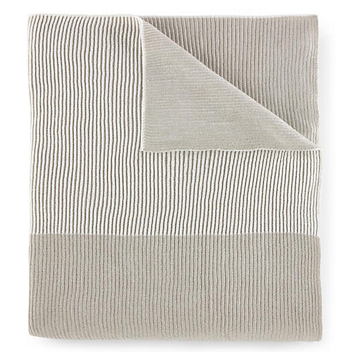 Seaside Blanket Throw, Platinum