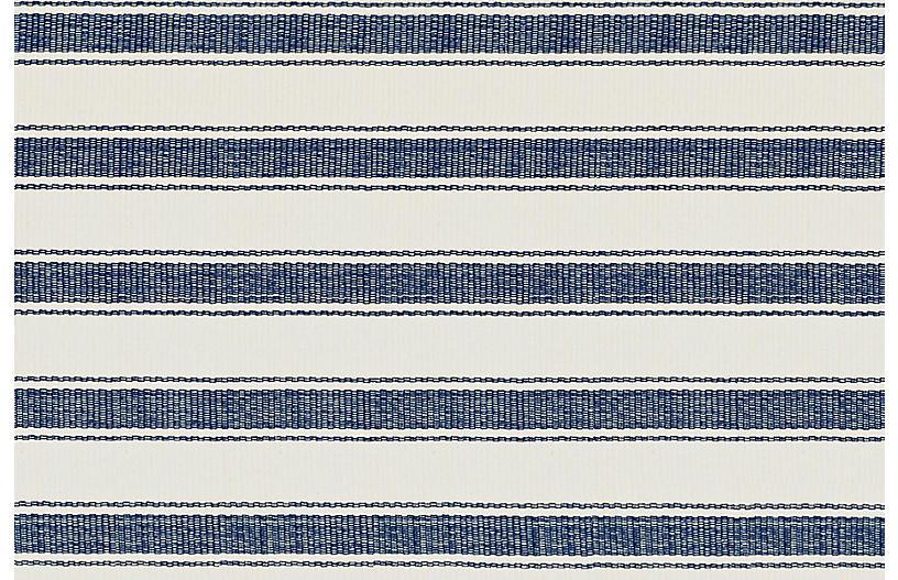Awning Stripe Flat-Weave Rug, Blue
