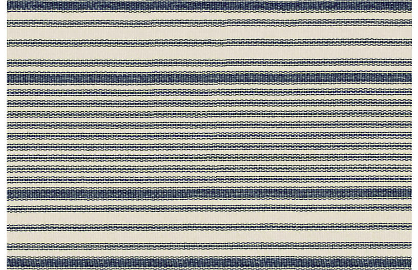 Mattress Ticking Flat-Weave Rug, Blue