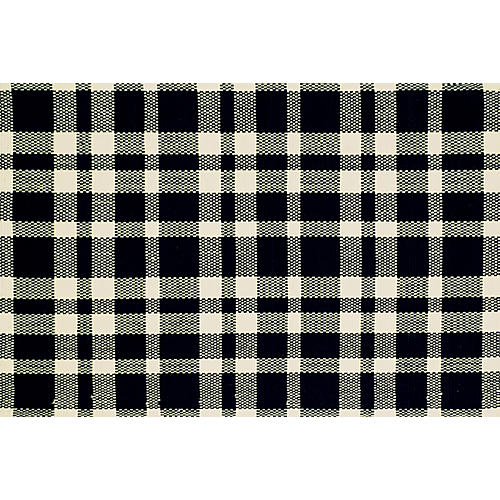 Tattersall Flat-Weave Rug, Black/Ecru