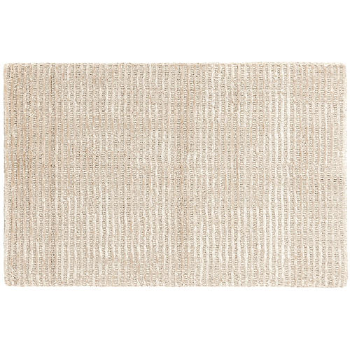 Cut Stripe Hand-Knotted Rug, Ivory