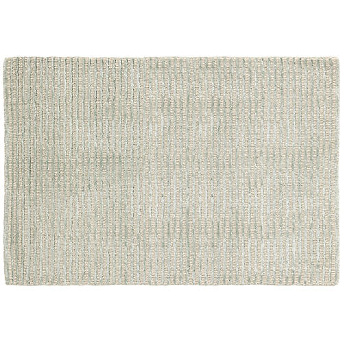 Cut Stripe Hand-Knotted Rug, Ocean