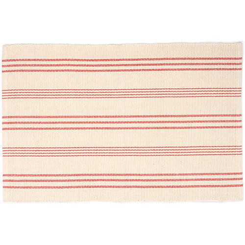 Skona Stripe Handwoven Rug, Coral